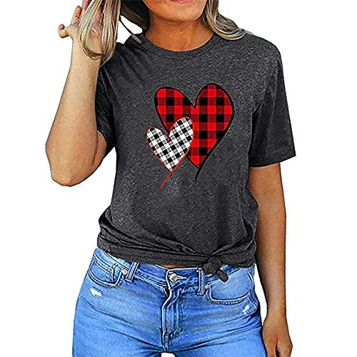Túnica para Mujer Costura en Contraste Cuello Redondo Camiseta Corta con Escote Redondo y Escote Redondo Camiseta de Verano Camisas básicas de Manga Corta Tops de Retazos Blusa asimétrica