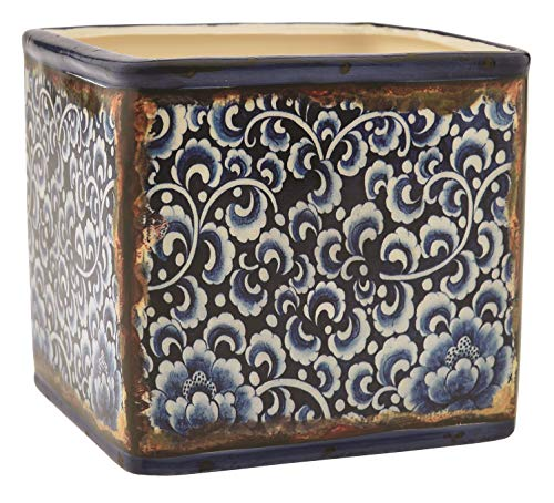 Floral Supply Online - Mosaic & Rustic Finish - Ceramic Cube with a Weathered Look for centerpieces, Weddings, and Home Decor.(B)