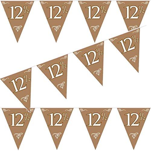 Carpeta 10m Wimpelkette * PETERSILIEN Hochzeit * als Deko zum 12,5-jährigen Jahrestag // in Bronze mit Zahl 12 ½ // Girlande Flag Banner