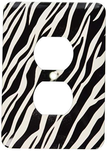 Einzelne Duplex-Steckdose, Wandplatte, Kunst-Schwarz und Weiß, Zebramuster, 2 Steckdosenabdeckungen