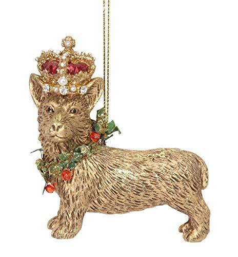 Gisela Graham - Decorazione per albero di Natale con corgi, in resina dorata