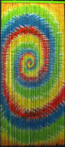 ABeadedCurtain 125 String Tie Dye Beaded Curtain 38% More Strands Handmade with 4000 Beads (+Hanging Hardware)