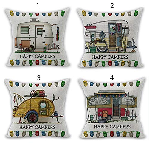 Nunubee Happy Campers Motorhome Decorations Linen Throw Pillow Covers Home Decor Cushion Cover for Sofa Couch 18x18 Inch / 45x45 CM - 4pcs Set