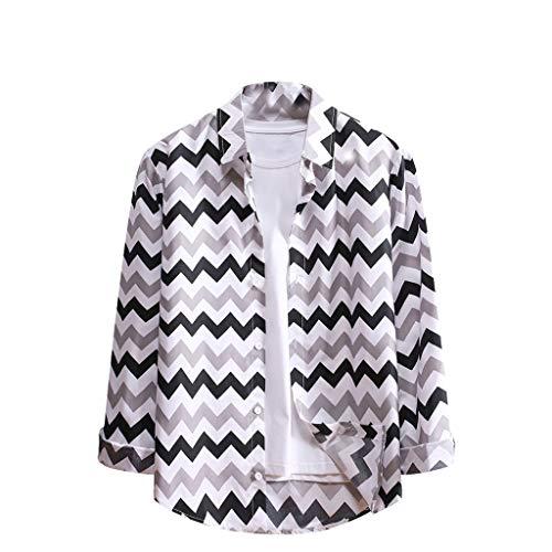 Yowablo Herren Hemd Modern Fit Langarm Winterhemd Bluse Tops T-Shirt Fashion Stripe Print Langarm Casual (XL,3Grau)
