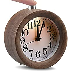 IreVoor Round Walnut Wooden Alarm Clock Silent Desk Alarm Clock with Nightlight