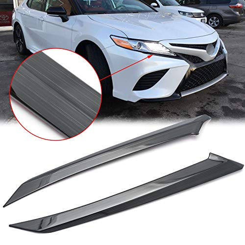 Xotic Tech Black Titanium Steel Headlight Cover Eyelid Molding Trim for Toyota Camry SE XSE 2018 2019 2020