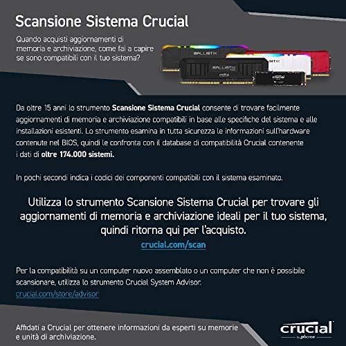 Crucial Ballistix BL2K8G36C16U4W 3600 MHz, DDR4, DRAM, Memoria Gaming Kit per Computer Fissi, 16GB (8GB x2), CL16, Bianco
