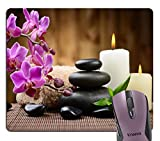 Knseva Zen Garden Theme - Stone Pink Orchid Flowers Burning Mouse Pad Meditation Yoga Spa Mouse Pads