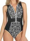 Monokini Mujer Push-up con Cuello en V con Relleno Acolchado Traje de Baño de Una Pieza Bikini,Negro,X-Large