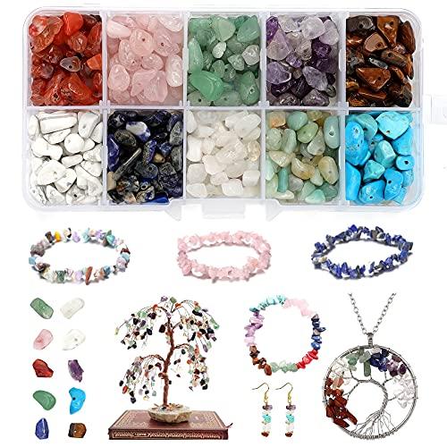 Perlas naturales de piedras preciosas irregulares, piedras preciosas con agujero, perlas a granel para la fabricación de joyas, collar, pulsera y anillo (10 colores)