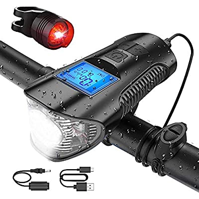 ZKCREATION Bike Lights Super Bright Bike Front Light USB Rechargeable Bike Tail Light and Waterproof Light Set Cycle Headlight with Bicycle Speedometer Odometer Fits Mountain Climbing Camping Fishing