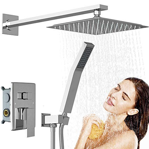RUIFUDA Stainless Steel Shower System, 10' Shower Faucet Set Bathroom Luxury Rain Mixer Shower Combo Set Wall Mounted Rainfall Shower Head System (Rough-in Valve Body and Trim Included)