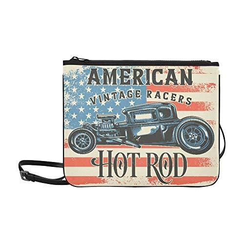 Yushg Teen Crossbody Bags Camiseta Diseño de póster Ilustración Hot Rod Correa...