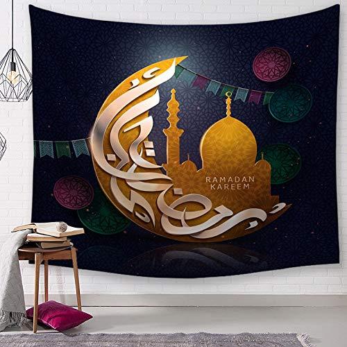 KHKJ Islamic Ramadan tapestry wall hanging moon mandala psychedelic carpet wall blanket sofa cover tablecloth home decoration A9 150x130cm
