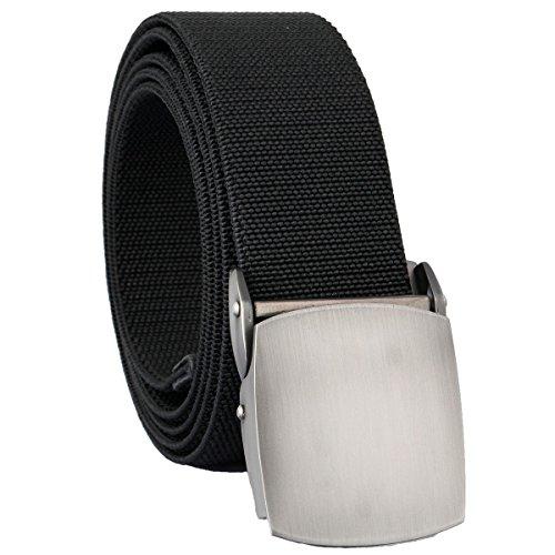 mookaitedecor Unisex Gürtel Elastischer Nylon Belt für Herren und Damen mit Automatisch Schnalle, 01-schwarz(metallschnalle), Einheitsgröße