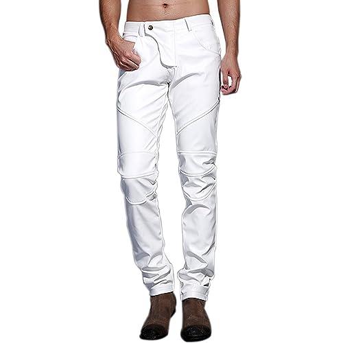 d2bde7ea1220a Idopy Men`s Slim Fit Party Performance Biker Faux Leather Jeans Pants
