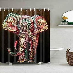 Huge Elephant Shower Curtain Fabric Shower Curtain Home Bathroom Decoration with 12 Hooks (Style5,180x180cm(70.8''x 70.8''))