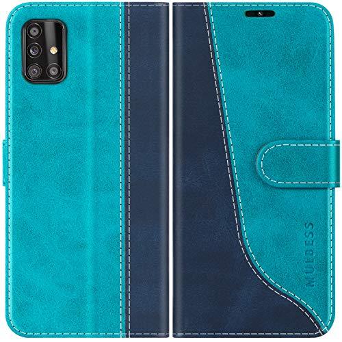 Mulbess Handyhülle Kompatibel mit Samsung Galaxy A51 Hülle, Samsung A51 Hülle Leder, Flip Handytasche Schutzhülle für Samsung Galaxy A51 4G, Mint Blau