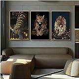 YHJK Impresión en Lienzo Arte Animal Leopardo Jaguar Impresiones Carteles Cuadros de Pared para Sala de Estar Pared del hogar decoración Moderna 3x50x70cm sin Marco