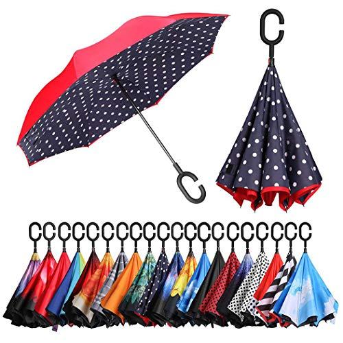 Eono by Amazon - Inverted Stockschirme, Winddicht Regenschirm, Reverse Stockschirme mit C Griff, Selbst Stehend, Double Layer, Schützen vor Sturm Wind, Regen und UV-Strahlung, Blau/Punkt