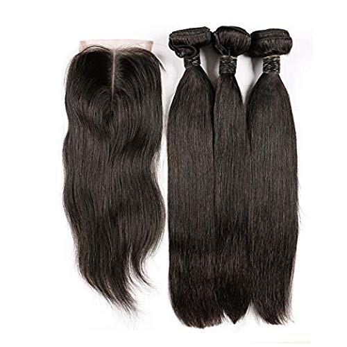 BLISSHAIR Haarverlängerung 3 Bundles Weave Mit Lace Closure, Brasilien Virgin Haare Straight Echthaar (8 8 8+8 Inch)