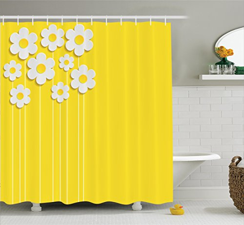 Ambesonne Yellow Decor Shower Curtain Set, Spring Flowers Daisy Pattern on Clean Background Blossom Meadow Scenic Art Print, Bathroom Accessories, 84 Inches Extralong, Yellow White