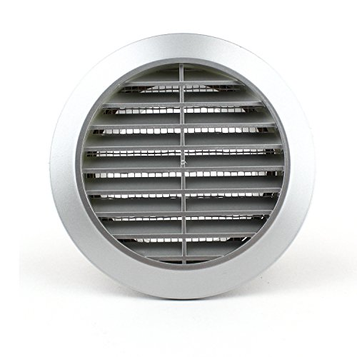Lüftungsgitter Rund Insektennetz Abluftgitter Insektenschutz Kunststoff Ø 90 mm silber
