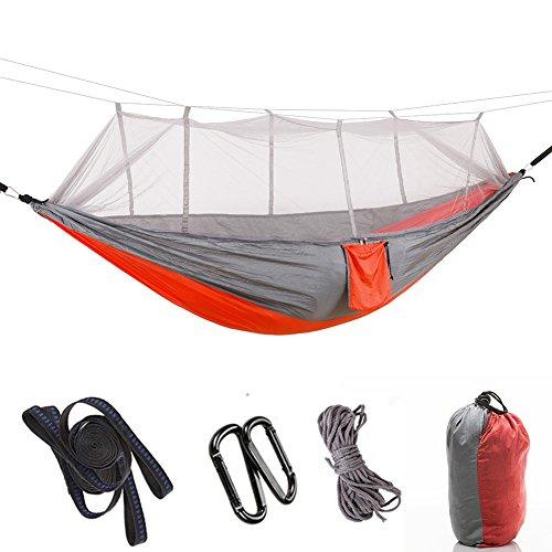 ZXL Hangmat Anti-muggen Enkel Dubbele Camping Lichtgewicht Draagbare Hangmat Max Lading 200kg Nylon Hangmat Swing voor Outdoor Binnen, Tuin en Patio