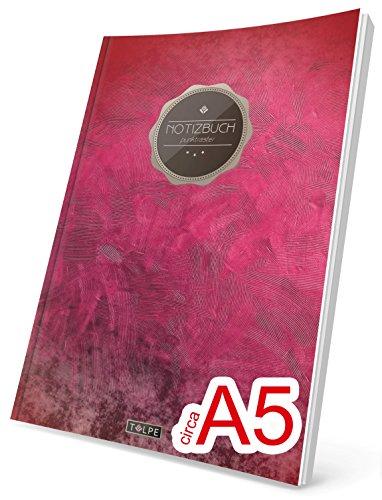 """TULPE Punktraster Notizbuch: Ca. A5 """"C006 Blutrot"""" (Vintage Softcover, Register, Punktkariertes Papier - Bullet Journal, Notizheft, Skizzenbuch, Tagebuch, Gepunktete Seiten, Dot Grid Notebook)"""