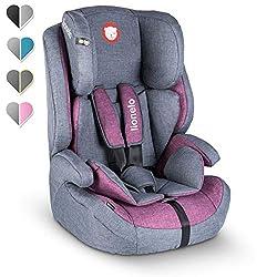 Lionelo Nico Kindersitz 9-36kg Kindersitz Auto Gruppe 1 2 3 Seitenschutz 5-Punkt Sicherheitsgurt abnehmbare Rückenlehne regulierbare Kopfstütze ECE R44 04 (Violett)