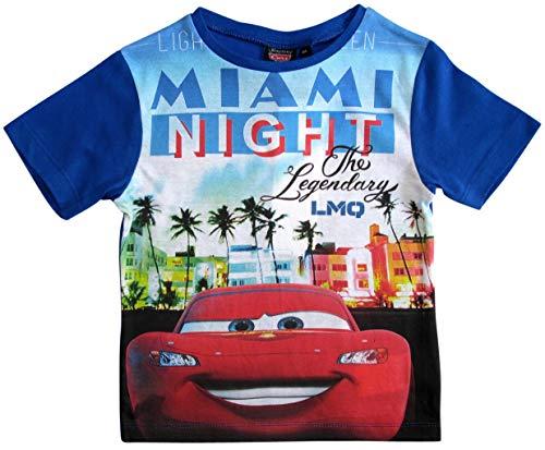 Cars Disney 3 T-Shirt Kurz Lightning McQueen Jungen (Blau, 116)