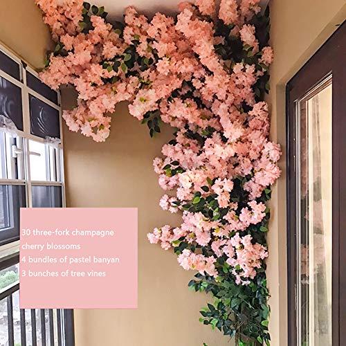 PDXGZ Árbol Artificial de la Flor de Cerezo, Tallos de Madera Maciza y Hojas realistas, Fondo de decoración Interior para la Decoración de Eventos de Boda de jardín de Fiesta Familiar