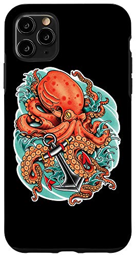 iPhone 11 Pro Max Octopus and Anchor, Nautical Tattoo Case