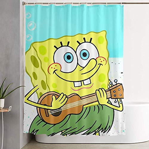 Meirdre Duschvorhang Spongebob Schwammkopf Gitarre Druck Wasserdicht Badezimmer Vorhang 152,4 x 183,9 cm