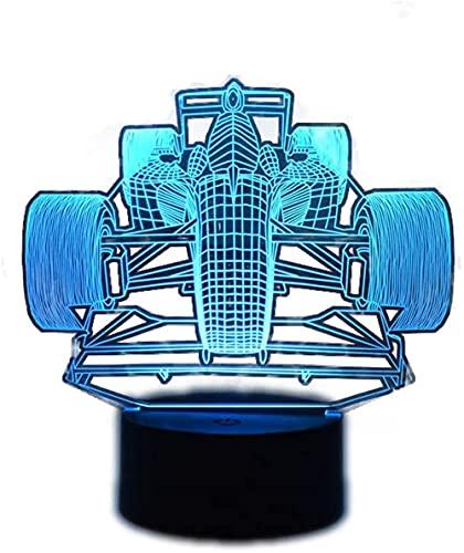 F1 Racing 3D luces para niños gris lámpara 16 color USB táctil y control remoto lámpara de mesa luz de noche para bebé dormitorio lámpara dormir luz niño niño regalo