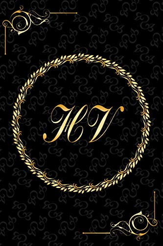 HV: Golden Monogrammed Letters, Executive Personalized Journal With Two Letters Initials, Designer Professional Cover, Perfect Unique Gift