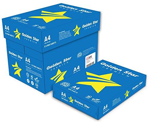 Golden Star Carta Premium per ufficio, Formato A4, 75 gr, Confezione da 5 risme da 500 Fogli