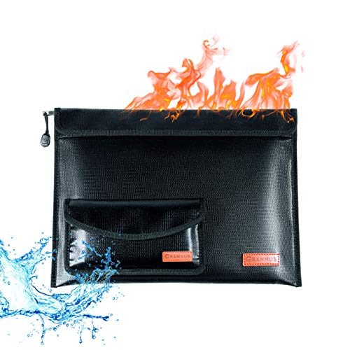 """Fireproof Document Bags 15""""x11"""", Waterproof and Fireproof Money Bag 8.5""""x4.5"""", Fireproof Safe Storage Pouch, Waterproof Document Holder, Water and Fire Resistant Organizer for Documents, Cash, File"""