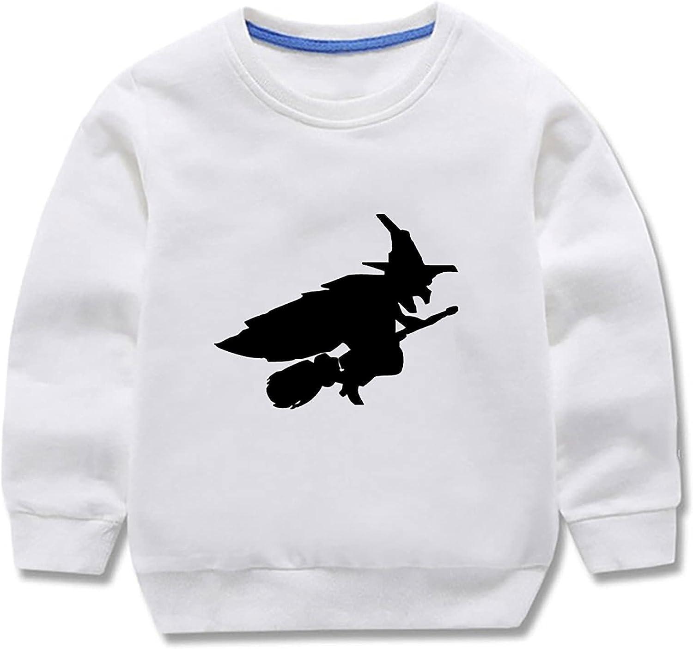 Kids Sweatshirts - Crew-Neck Halloween Witch Sweatshirt Long Sleeve Pullover Shirt Fall Tops for Boys Girls