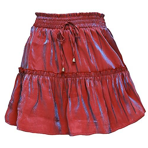 N\P Falda corta de cintura alta elástica de color sólido de las mujeres