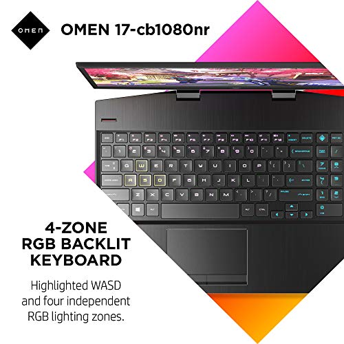 OMEN 17 Gaming Laptop, NVIDIA GeForce RTX 2070, Intel Core i7-10750H, 16 GB DDR4 RAM, 512 GB PCIe NVMe SSD, 17.3