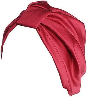 Qhome Women Luxury Silky Silk Stretchy Turban Headwrap Soft Chemo Cap for Hair Loss Bandana Hijab Turbante Hat
