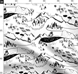 Landkarte, Draußen, Berg, Bauernhof, Schwarz Und Weiß,