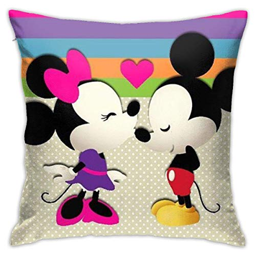Gypsophila Pillow Cover Cushion Cover Baby Mickey and Minnie Decorative Pillow Case Sofa Seat Car Pillowcase Soft 18x18 Inch