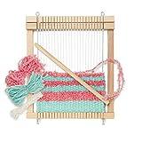 Micki Holz Kinder-Webrahmen, fertig gespannt, 1x Webschiffchen, 10 Meter extra Kettgarn, 2x Wolle je 5 Meter - Webbreite: 14 cm - BxLxH: 3x18,7x21,7 cm - ab 3...