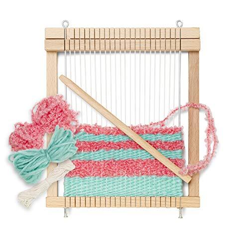 Micki 10-217000 - Holz Kinder-Webrahmen, fertig gespannt, 1x Webschiffchen, 10 Meter extra Kettgarn, 2x Wolle je 5 Meter - Webbreite: 14 cm - BxLxH: 3x18,7x21,7 cm - ab 3 Jahre