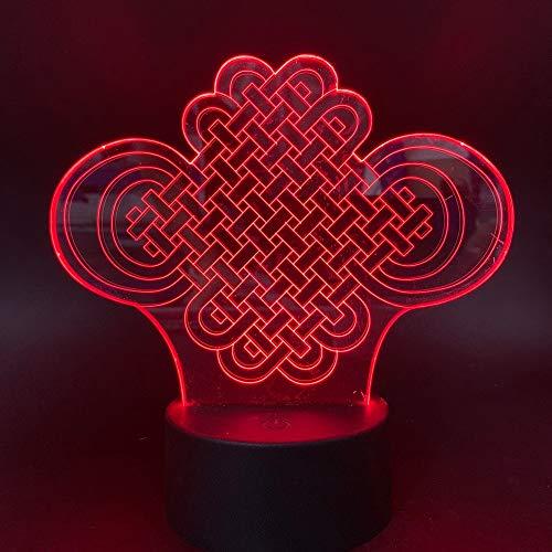 LED nachtlampje 3D Vision-zeven kleuren afstandsbediening geluksbelovende Chinese knopen binnenklas decoratie nachtlampje baby kind slaapkamer nachtkastje lamp nachtlampje nachtlampje nachtlampje nachtlampje