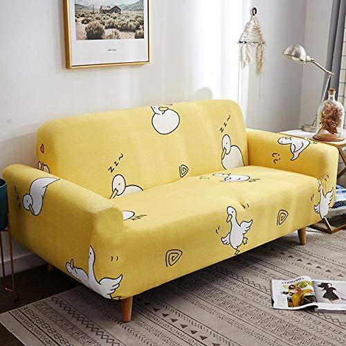 NLADTWLSD Funda de sofá de Alta Elasticidad, impresión Fundas para Sofa Antideslizante Cubierta para Sofa Protector para Sofás Lavable para el Salón (3 Asiento,Amarillo)