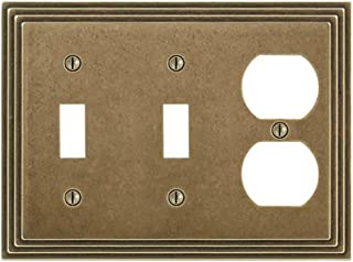 Amerelle Steps Double Toggle/Single Duplex Cast Metal Wallplate in Rustic Brass