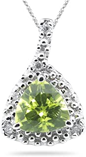Stunning pendant for the woman you love. The pendant has a fine AA quality bright green colored trillion-cut Peridot accented with H-SI color-clarity white diamonds. Peridot is the August Birthstone and is known as the stone of spirituality and beauty. It is a vibrant green in color ; the best Peridots come from Kashmir and Pakistan. Matching ring and earrings available.